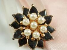 Pretty Vintage 1950s Faux Pearl & Black Enamel Flower Brooch  819S4