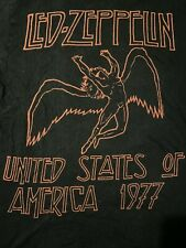 Led Zepplin United States of America 1977 Black and Red T-Shirt Size Medium