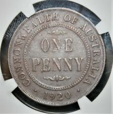Australia 1 Penny 1920(S) Very Fine NGC VF-30 BN Coin - No MintMark