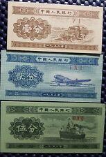 1953 China PRC 1 Fen, 2 Fen & 3 Fen banknote UNC, 3pcs (+FREE 1 Banknote) #D524