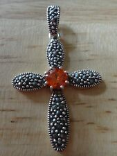 Sterling Silver 41x25mm Marcasite Cross with Red/orange Color CZ Pendant Charm