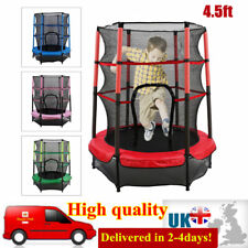 4.5FT Kids Trampoline Round Bouncer Enclosure Safety Net Outdoor Toy 55 inch
