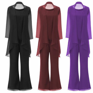 Plus Size Mother Of the Bride Pant Suits Outfit Wedding Guest Dress Long Sleeves