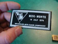Unused Dash Plaque: july 14, 1974 MINI-MONTE NE auto-slalom championship