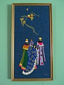 VINTAGE SIGNED & DATED HAND CRAFTED FRAMED FELT & EMBROIDERY HOLIDAY WALL DECOR