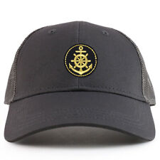 Youth Kid's Gold Anchor Patch Youth 6 Panel Trucker Baseball Cap - FREE SHIPPING