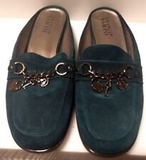 Franco Sarto Mules Womens Slip On Shoes Green Suede Leather Charms Sz 8 M