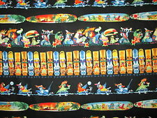 TIKI GODS PARROTS SURFBOARDS COLORED COTTON FABRIC BTHY