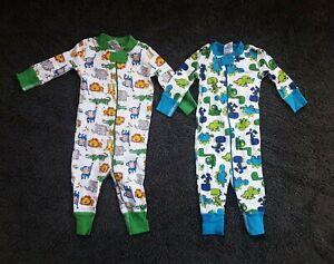 Hanna Andersson Boys Pajamas Lot of 2 60/ 6-9 Dinosaurs Zoo Animals Green Blue