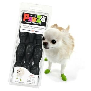 NEW Black Rubber Dog Boots, Tiny 12-Pack, Reusable Waterproof by PawZ