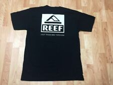 REEF men's Large casual T-shirt Just Passing Through Since 1984 Black Cotton NEW
