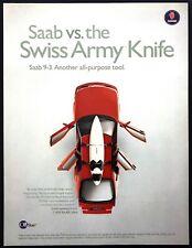 2001 Saab 9-3 Sedan vs. The Swiss Army Knife photo All-Purpose Tool print ad
