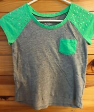 Justice Girls Gray with Green Stud Accent Pocket Top Shirt Size 10
