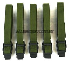 "QTY 5 US Military Webbing ALICE CARGO STRAP Pack Lashing OD Metal Buckle 52"" NEW"