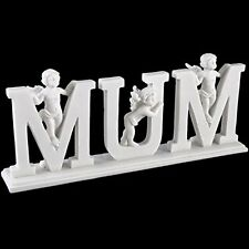 MUM Cherub Letters on Plinth - White Resin Mothers Day Ornament Gift