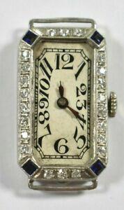 Art Deco Ladies Platinum Diamond Sapphire Wrist Watch Circa 1920's Elem W Co.