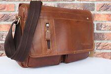 Echtes Leder Schultertasche Braun Messengertasche Umhängetasche Leather Bag #153