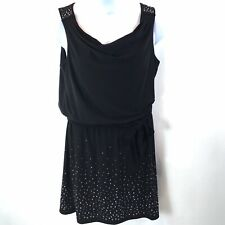 White House Black Market Dress Sleeveless Studded Blouson Black Short Size L