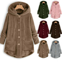 Womens Plus Size Button Plush Tops Hooded Loose Cardigan Wool Coat Winter Jacket