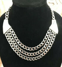 Silver Plated Chunky Chain Choker Necklace N-4