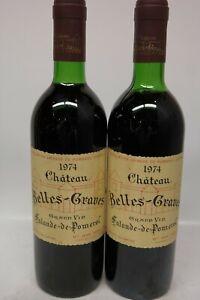2 x Chateau Belles-Graves 1974 Lalande-de-Pomerol, je 730ml