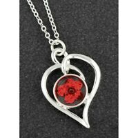 Equilibrium Eternal Flowers Red Heart Silver Plated Necklace Gift Valentines day