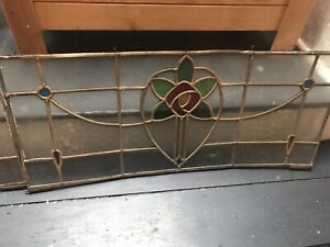Victorian 2 Leaded Stained Glass Panels 1906