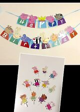 Peppa Pig Happy Birthday Banner/Bunting Flags Decoration + FREE 11 Cake Toppers