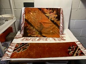 LOT 2 VTG Antique Burgundy Gold Velvet Tie Dye Scarves Runner Rectangle W/Fringe