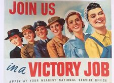 "WW2 Recruiting Poster "" JOIN US in a VICTORY JOB"" A3"