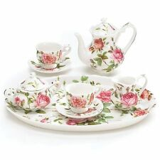 Mini Saddlebrooke Tea Set Flowers Porcelain Teacup Teapot Saucers Tray Pink R...