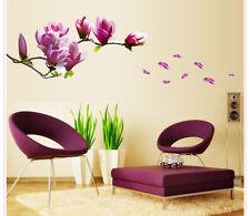 Purple Magnolia flower vine Tree Removable Wall Decals Sticker Mural Decor