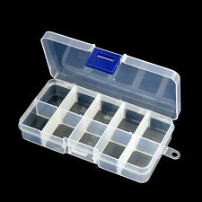 Adjustable Plastic10 Grid Clear Jewelry Organizer Storage Box Cosmetic Case L1Y