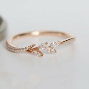 Gorgeous 14k Gold Plated Rings Women Jewelry White Sapphire Rings Size 5-13