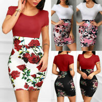 Fashion Women Sexy O-Neck Short Sleeve Floral Print Patchwork Bodycon Mini Dress