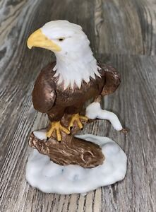 "Bald Eagle Standing Figurine Ceramic Japan 6.25x4.25"" Matte Finish Figure"