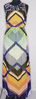 Gibson Latimer Multicolor Geometric Flowy Maxi Dress  w Cutout Neckline sz S