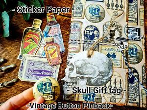 Vintage Ephemera Journal Folder Labels Poisons Apothecary Vintage Button Pinback