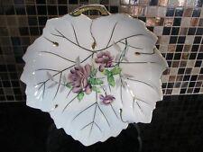 "Vintage 9"" Ucagco China Handpainted Leaf Serving Plate Purple Flowers Gold Trim"