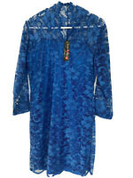 NEW Dress Size Small Navy Blue Lace Short Length Midi Sleeves Lined