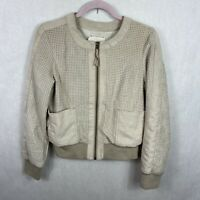 Anthropologie Hei Hei Preforated Vegan Suede Bomber Jacket Women's Size Small