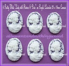 6 Unset WHITE LADY with BOWS, DOVE & ROSES on PURPLE LAVENDER 25mm x 18mm CAMEOS