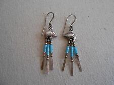 Bear & Turquoise Bead Southwest Sterling Silver Dangle  Earrings 222505