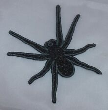 Embroidered Black Glitter Spider Halloween Horror Applique Jacket Patch Iron On
