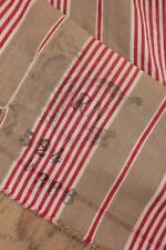 Antique French Napoleon III c 1870 ticking fabric STAMPED RARE material