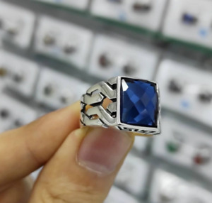 Solid Sterling 925 Silver Handmade Jewelry Facated Blue Sapphire Men's Ring