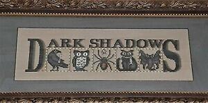 Dark Shadows Raven Owl Spider Cat Bat - Framed Cross Stitch Halloween 23 x 11