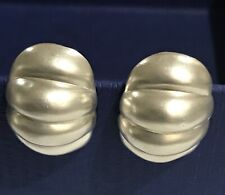 Solid Curved Pierced Earrings - Vtg Sterling Silver - Mexico Taxco