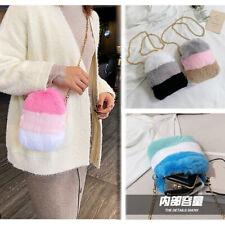 Crossbody Plush Rabbit Fur Bag Shoulder Zipper Purse Wallet Case Phone Pouch