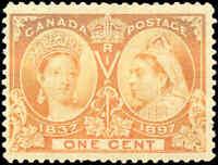 1897 Mint NH Canada F+ Scott #51 1c Diamond Jubilee Issue Stamp
